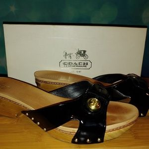 Coach Shoes - Coach Lee crinkle patent wooden clog 10